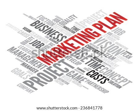 Marketing Plan business concept in word tag cloud, vector background - stock vector
