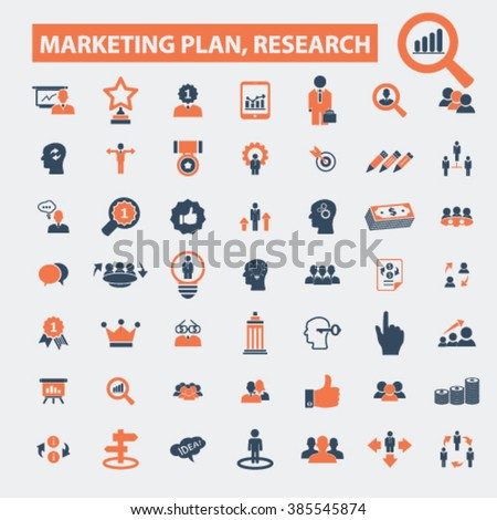 marketing plan, research icons  - stock vector