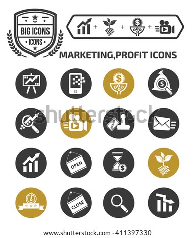 Marketing,profit icon set,vector