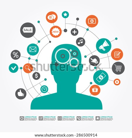 Marketing  promotion concept. Businessman surrounded by  interface icons. File is saved in AI10 EPS version. This illustration contains a transparency - stock vector