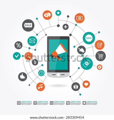 Marketing  promotion concept. Smartphone, megaphone surrounded icons. File is saved in AI10 EPS version. This illustration contains a transparency  - stock vector