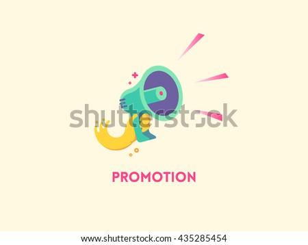 Marketing promotion concept. Speaker Hand holding a megaphone. Vector flat icon illustration - stock vector