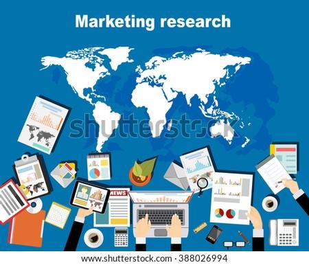 Marketing research concept illustration. Flat design illustration concepts for finance, business, management, analysis, marketing, business solution, teamwork, business statistics, plan - stock vector