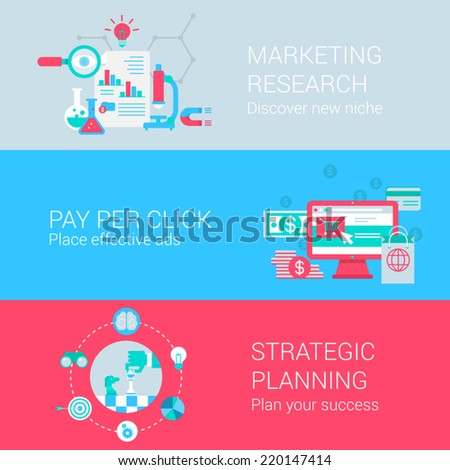 Marketing research pay per click advertisement strategic planning concept flat icons set vector web banners illustration print materials website click infographics elements collection - stock vector