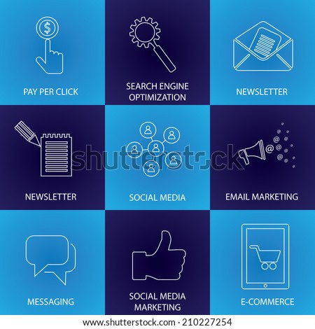 marketing, social media, seo & e-commerce - concept vector icons. This graphic represents email marketing, newsletters, communication & messaging, people network, mobile marketing, online shopping - stock vector