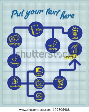 Marketing strategy diagram on graph paper - stock vector