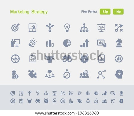 Marketing Strategy Icons. Granite Icon Series. Simple glyph stile icons optimized for two sizes. - stock vector