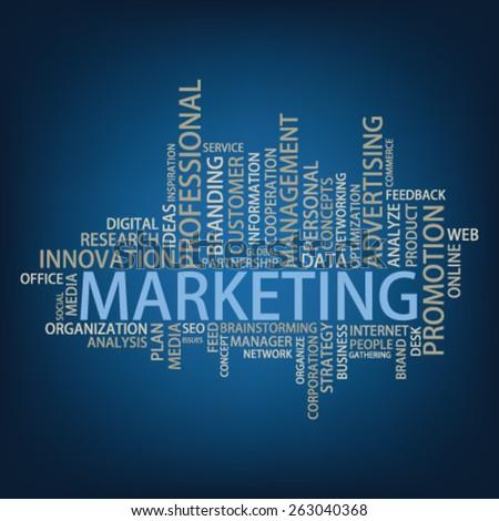 Marketing Tag Cloud, vector - stock vector