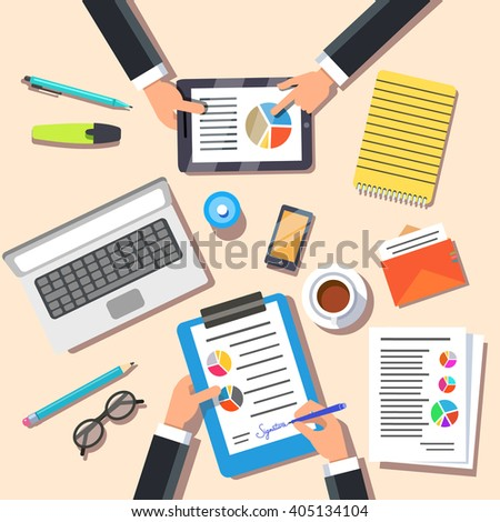 Marketing team discussing new marketing plan. Top view. Flat style vector illustration. - stock vector
