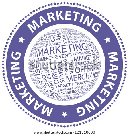 MARKETING. Word collage. Vector stamp. - stock vector