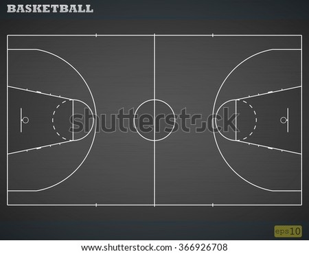 Marking of a basketball court against a dark background. Vector illustration - stock vector