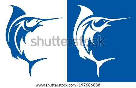 Marlin fish deep sea fishing symbol. - stock vector