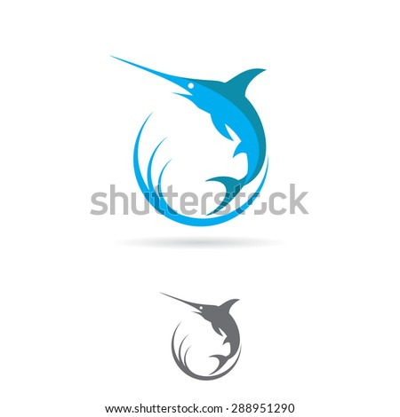 Marlin fish jumps out of the water sign. Vector illustration logo - stock vector