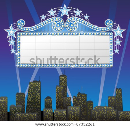 Marquee banner with stars, file is separated on layers. - stock vector