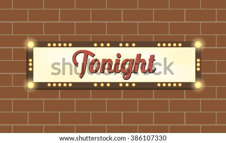 Marquee billboard, advertising border, bulbs. Glowing  billboard/shiny panel. Illuminating marquee billboard to advertise show. Marquee banner/border for cafe/festival/show/cinema. Vector Illustration - stock vector