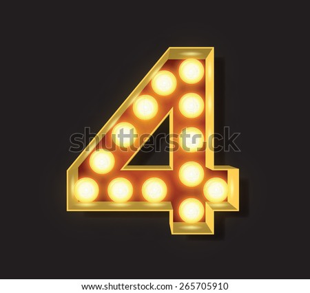 Marquee Light Letter - Vector - 4 - stock vector