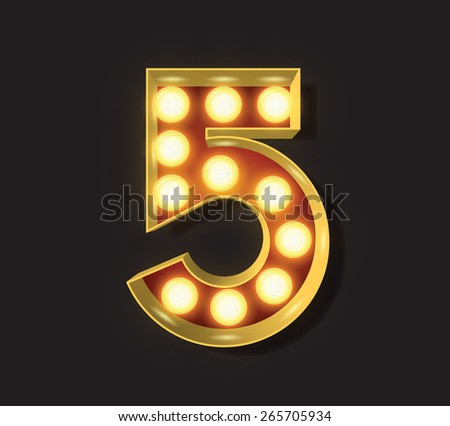 Marquee Light Letter - Vector - 5 - stock vector