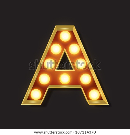 Marquee Light Letter - Vector - A - stock vector