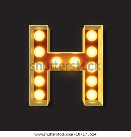 Marquee Light Letter - Vector - H - stock vector