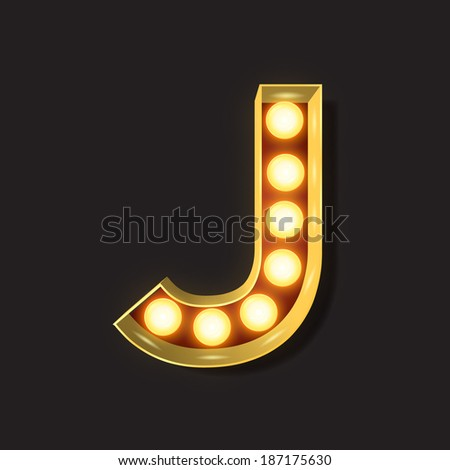 Marquee Light Letter - Vector - J