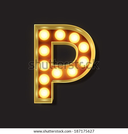 Marquee Light Letter - Vector - P