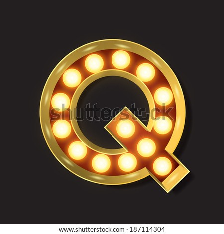 Marquee Light Letter - Vector - Q - stock vector