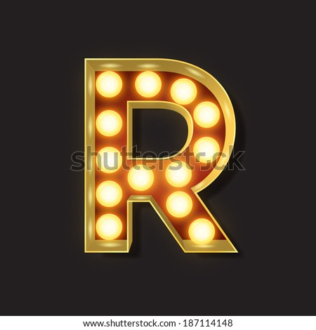 Marquee Light Letter - Vector - R - stock vector
