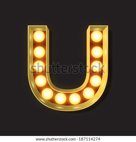 Marquee Light Letter - Vector - U - stock vector