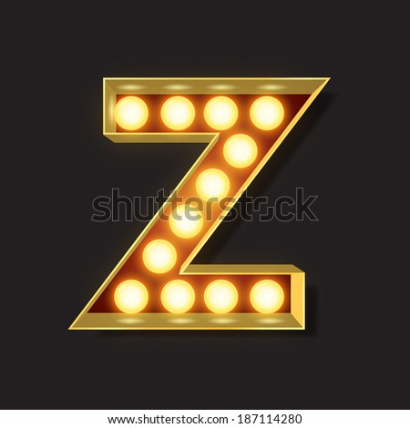 Marquee Light Letter - Vector - Z - stock vector
