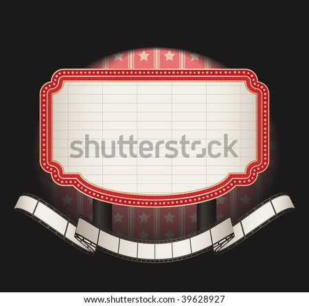 marquee with film strip banner- vector - stock vector