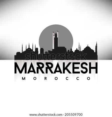 Marrakesh Morocco Black Skyline Silhouette vector illustration, Typographic design. - stock vector