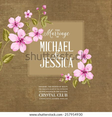 Marriage card with romantic flowers on brown fabric. Vector illustration. - stock vector