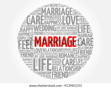 Marriage circle word cloud collage concept
