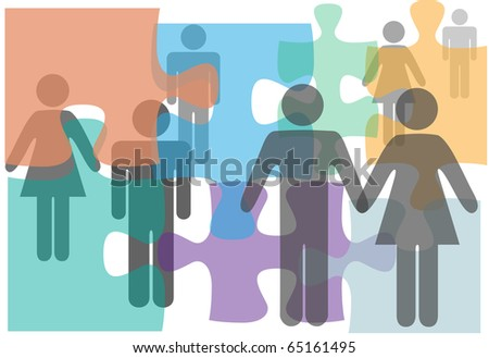 Marriage counseling couples singles divorce people in a puzzle abstract - stock vector