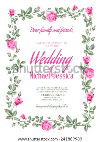 Marriage Invitation Card Custom Sign Flower Stock Vector 241889989