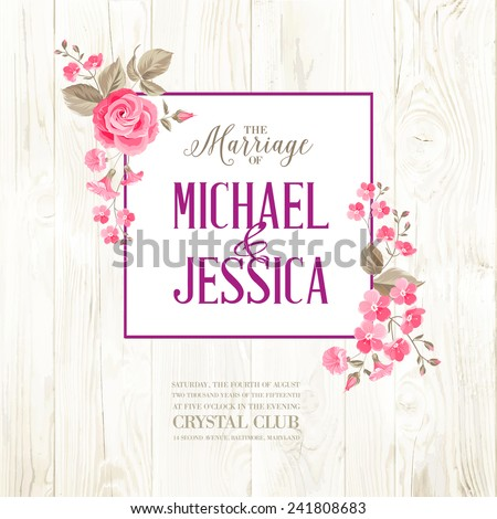 Marriage invitation card custom sign flower stock vector 241808683 marriage invitation card with custom sign and flower frame over wooden background vector illustration stopboris Choice Image
