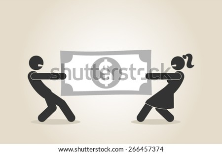 marriage money problems alimony divorce break up relationship couple fight vector illustration - stock vector