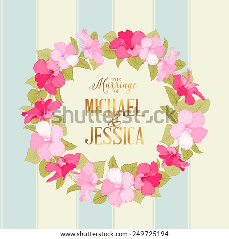 Marriage wreath of exotic flowers and invitation sign. Vector illustration - stock vector