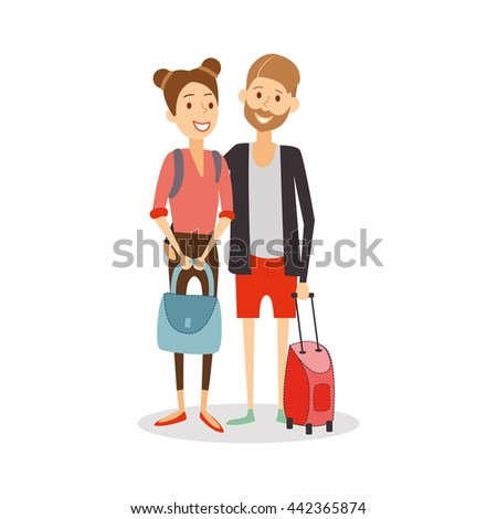 Married couple on  journey. Young happy newlyweds go on vacation, travel people cartoon isolated, vector eps 10 format.  - stock vector