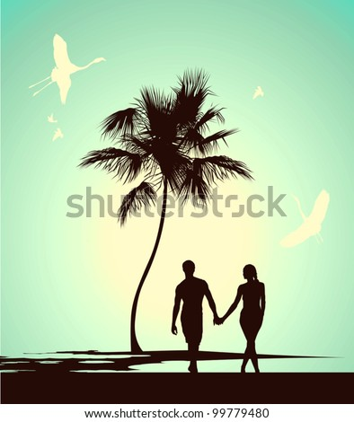 married couple walking on tropical island - stock vector