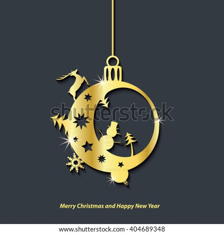 Marry Christmas and Happy New Year background design for your greetings card, flyers, invitation, posters, brochure, banners, calendar - stock vector