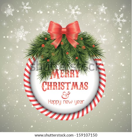Marry Christmas and New Year greeting card - vector illustration. Sparkle background - stock vector