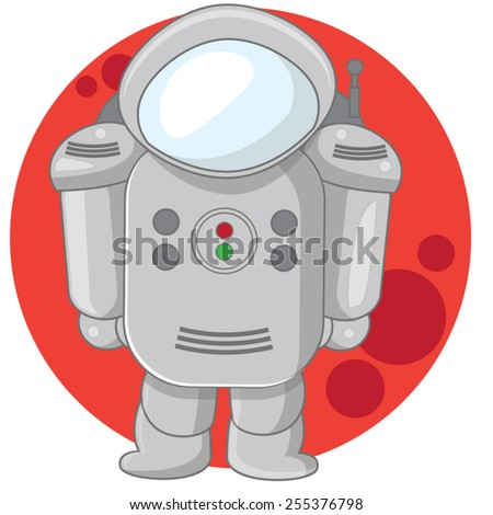 Mars Astronaut, An Astronaut in front of the planet Mars, this is a spacesuit of a future explorer of the red planet. - stock vector