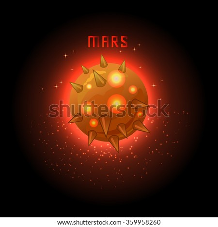 Mars banner with letter Mars. Vector illustration. Space, stars and sparkles, fire planet icon isolated on black background.  - stock vector