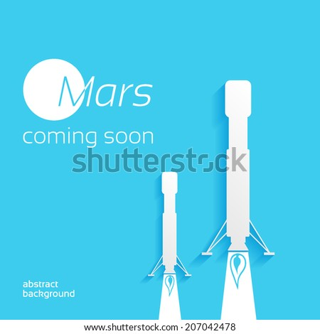 Mars, coming soon, space concept background design layout for poster, flyer, cover brochure - stock vector
