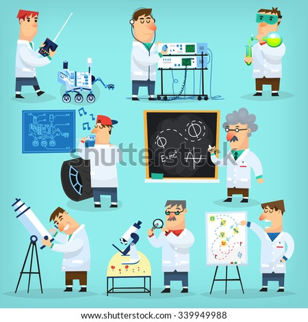 Mars program engineers and scientists researching, reparing, calculating, observing and presenting project - stock vector