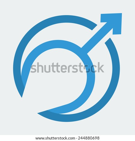 Mars Symbol. The Symbol for a Male Organism or Man, Boy. Vector Illustration - stock vector