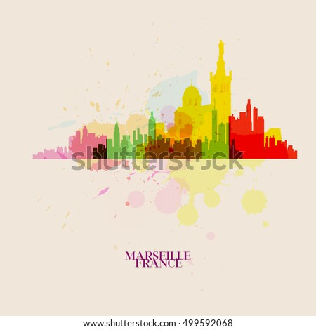 MARSEILLE Vector silhouettes of the city
