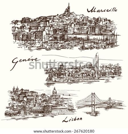 Marseilles, Geneva, Lisbon - stock vector
