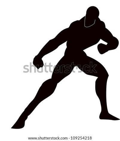 Martial Arts, Black Silhouette of a Man, Punching, Stance, vector illustration - stock vector